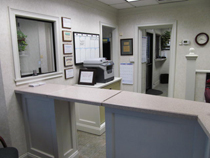 front counter inside the lobby
